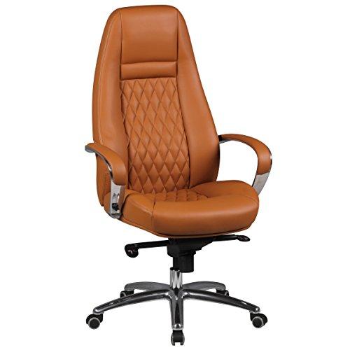 AMSTYLE bureaustoel AUSTIN echt leer caramel bureaustoel XXL bekleding managerstoel hoge rugleuning met hoofdsteun design draaistoel wieltjes draaibaar in hoogte verstelbaar kantelfunctie hoog É