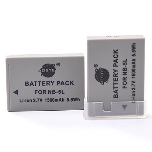 DSTE 2-Pacco Ricambio Batteria per Canon NB-5L PowerShot S100 S110 SD700 IS SD790 SD800 SD850 SD870 SD880 SD890 SD900 SD950 SD970 SD990 SX200 SX210 SX220 SX230 HS IXUS 800 850 860 870 900 90 950 960 970 980 990 IS