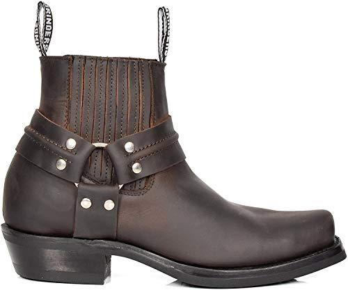 House of Luggage Herren Leder überstreifen Chelsea Stiefel Cowboy Stil Quadrat Zehe Knöchel Schuhe HLG07REL (EU 42, Braun)