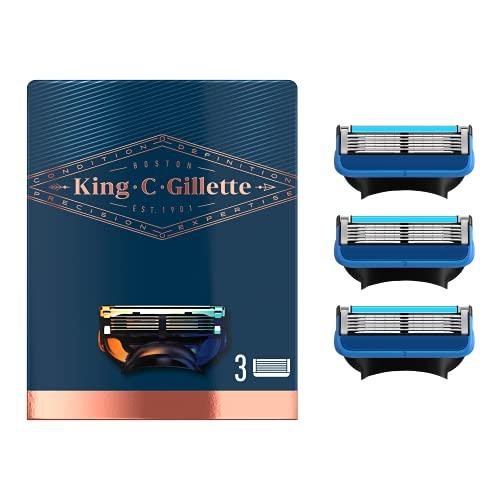 King C. Gillette Cuchillas de Afeitar Hombre para Máquina de Afeitar con Precisión Integrada, Paquete de 3 Recambios