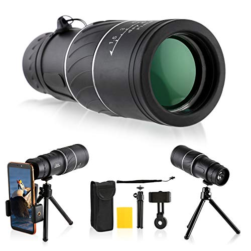 16x52 Monocular Telescope, Dyna-Living Upgraded HD BAK4 Monocular Scope with Smartphone Holder & Adjustable Tripod for Terrain & Wildlife Observation/Bird Watching/Sightseeing, Day & Low Night Vision