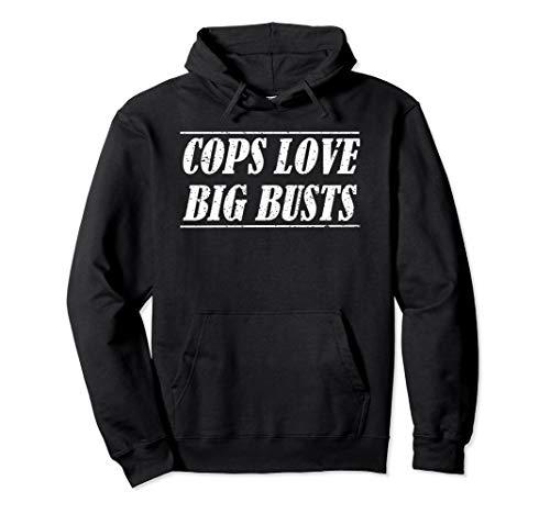 Lustiges Polizeihemd, Distressed Cops lieben große Büsten Pullover Hoodie