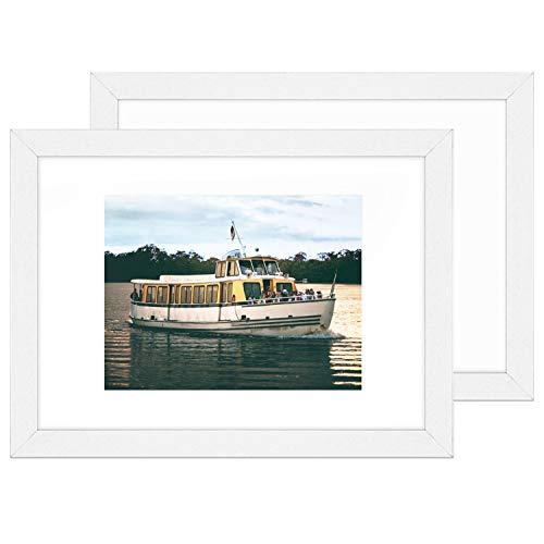 Lobome 2 Bilderrahmen A4 Weiss | 2 Bilderrahmen 20x30 cm Weiss | Fotorahmen Mit Plexiglas, Metall-Aufhängung, Aufsteller & Passepartout