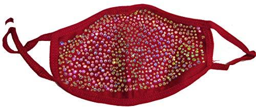 ENJOY EVERYDAY LIFE, SUGARBEAR'S Fashion Rhinestone Designer Face Mask Glitter Sequin (Red AB Rhinestone)