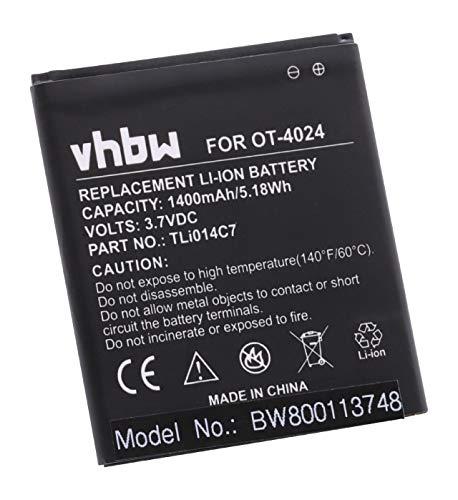 vhbw Li-Ion Akku 1400mAh (3.7V) für Handy Smartphone Handy Alcatel One Touch OT-4024, OT-4024D, OT-4024X, Pixi First wie TLi014C7.