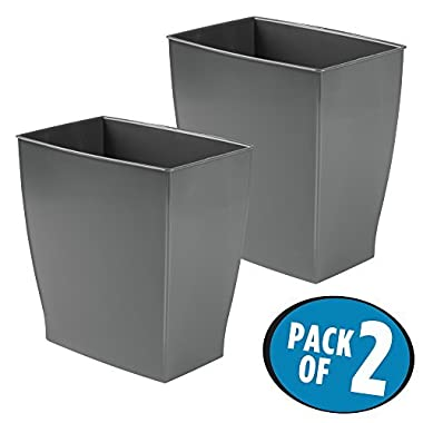 mDesign Rectangular Trash Can Wastebasket, Small Garbage Container Bin for Bathrooms, Powder Rooms, Kitchens, Home Offices - Pack of 2, Shatter-Resistant Plastic, Dark Gray Slate