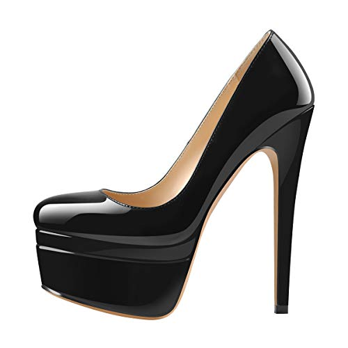 Only maker Damen Doppel- Plateau Pumps High Heels mit Elegantem Stiletto Absatz Schwarz Lack 45 EU