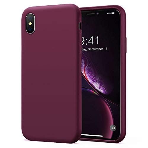 KUMEEK iPhone X/Xs Case, Soft Silicone Gel Rubber Bumper Case Anti-Scratch Microfiber Lining Hard Shell Shockproof Full-Body Protective Case Cover for iPhone X/iPhone Xs-WineRed