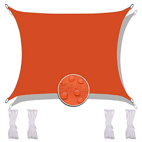 Redfire Sun Segel Sonnensegel 2X1.8M, Feuchtigkeitsbeständig Sonnensegel Quadrat Oxford-Stoff Inkl Befestigungsseile Überlegene Reißfestigkeit für Balkonsichtschutz Orange