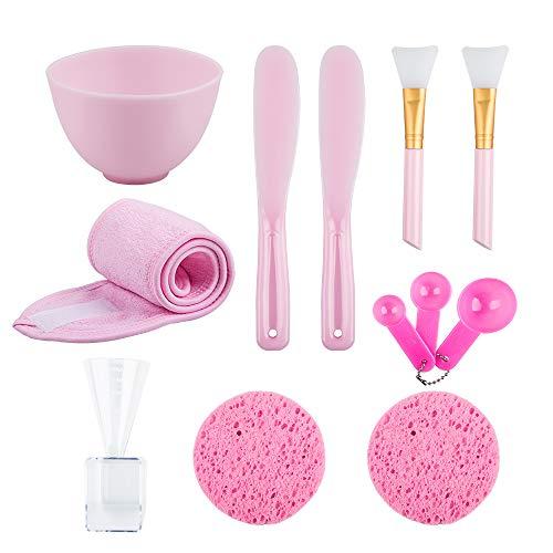 12-en-1 ensemble de bol de mélange facemask, kit d'outils de masque facial bricolage en silicone YuCool avec bol pour masque facial, brosse en silicone, spatule,bandeau de maquillage-rose