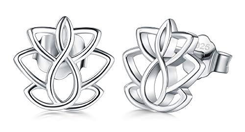 925 Sterling Silver Stud Earrings, BoRuo Lotus Flower Yoga Earrings