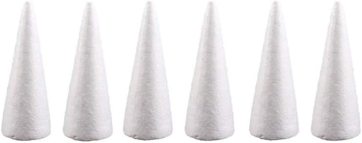 Amosfun 6pcs Foam Cones Christmas Tree Cone Styrofoam Cones for DIY Modeling Craft Floral Arranging Supplies