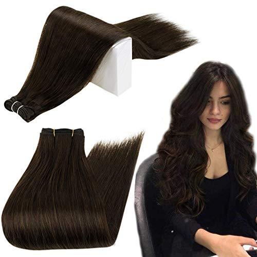 RUNATURE Haartressen Echthaar Extensions 18 Zoll Fabre 2 Dunkelstes Braun 100g 1 Stück Echthaar Tressen zum Einnähen