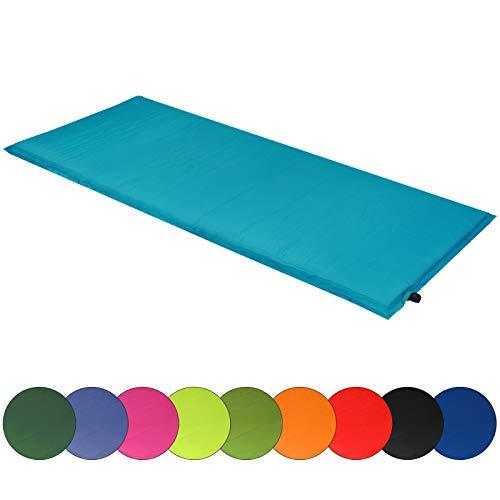ALPIDEX Isomatte Selfinflating Matte Selbstaufblasende Outdoor Thermomatte in Verschiedene Größen und Farben, Maße:200 x 66 x 10 cm, Farbe:türkis