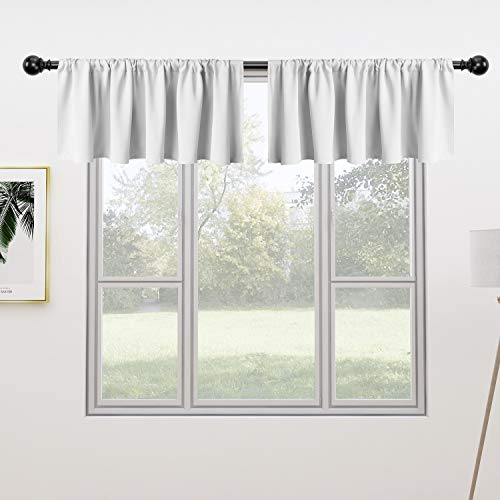 FLOWEROOM Valance Kitchen Curtains Set, 42 x 18 inch Long, Greyish White, 2 Pieces – Rod Pocket Short Blackout Curtain for Small Windows, Thermal Window Treatment and Room Darkening Curtain Panels