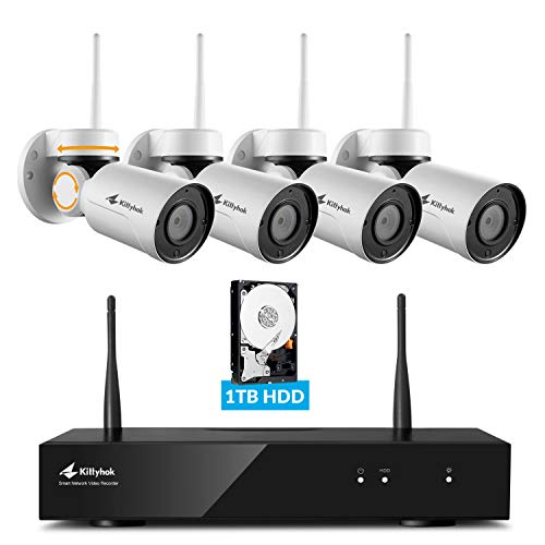 Pan Tilt Wireless Security Camera System with 1TB Hard Drive and Audio, Kittyhok 8CH 4pcs 1080p PTZ Wifi Camera Outdoor/Indoor,100ft Night Vision, Weatherproof, Motion Detection, Remote View Control