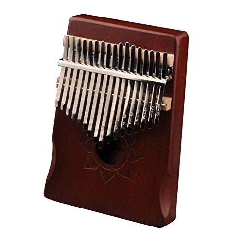SYXMSM 17Keys Kalimba Musikinstrument Holz Mahagoni Daumen Finger Klavier Afrikanischen Mbira Mit Tuning Tool Aufbewahrungstasche for Anfänger (Color : Coffee)