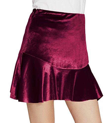 Urban CoCo Women's Vintage Flare Pleated Velvet Mini Skirt (M, Red)