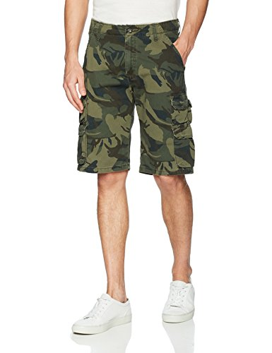 Wrangler Authentics Men's Premium Relaxed Fit Twill Cargo Short, Forest Green Camo, 36