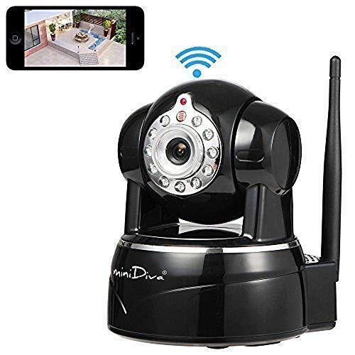 Minidiva Indoor 1080P 2 Megapixel drahtlose WiFi IP berwachungskamera, Full-HD-Stecker/Wiedergabe Heimberwachungskamera mit Schwenk-Neige,Nachtsicht, Zwei-Wege-Audio (schwarz)