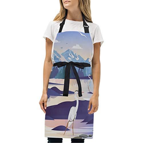 DEZIRO Schürze mit Schneeberg-Motiv, langlebig, verstellbar, mit Tasche und Langen Bändern