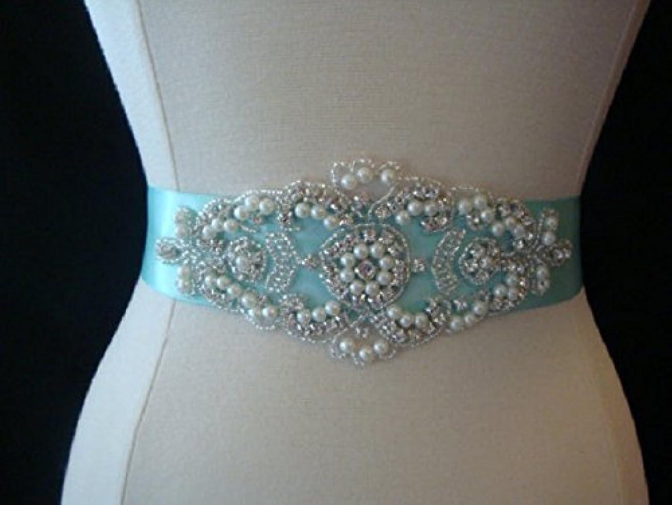 Bridal Sash Belt- Aqua Rhinestone Bridal Sash- Custom Wedding Sash