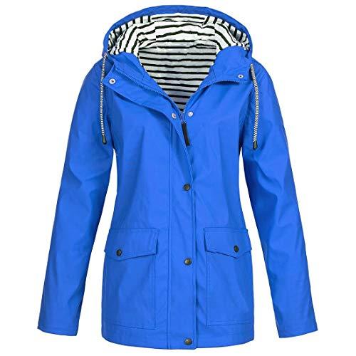 Windbreaker Frauen wasserdichte Jacke mit Kapuze Regenjacke Reißverschluss Regenjacke Frauen Wasserdichter Mantel Leichter Poncho Reißverschluss Knöpfe mit Kordelzug 3XL