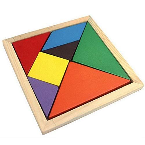 Juguetes educativos para niños La enseñanza de Puzzle - Madera Tangram 7 piezas del rompecabezas de colores cuadrados IQ juego Problemas de Matemáticas for Niños Niños Niñas inteligentes educativos ju