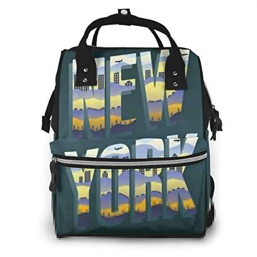 GXGZ Sac à dos imperméable à couches New York Letters, compartiment avec deux poches et huit rangements, sacs d'allaitement élégants et durables pour les parents