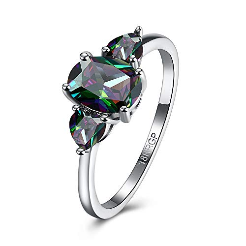 WANZIJING Wedding Crystal Ring for Women, Bismuth Crystal Cocktail Rings Alloy Engagement Fashion...