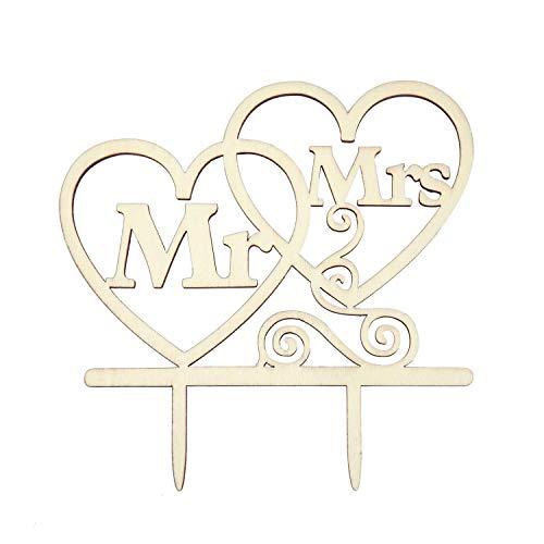 Oblique Unique® Torten Kuchen Topper Aufsatz - Mr & Mrs + Herzen - Holz Dekoration für Hochzeit JGA Junggesellinnenabschied Deko