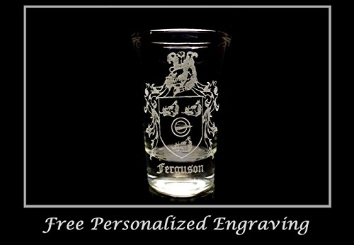 Ferguson Scottish Family Coat of Arms Shot Glass 2oz - Free Personalized Engraving, Celtic Decor, Scottish Glass