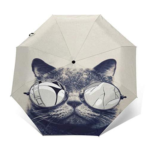 TISAGUER Paraguas automático de Apertura/Cierre,Un Gato con Gafas de Sol Mirando a una Mujer Sexy,Paraguas pequeño Plegable a Prueba de Viento