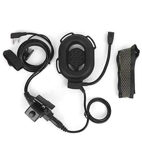 Versión Militar estándar Plug PTT Headset Walkie Talkie Headset Almohadilla para los oídos ventilada, Actividades al Aire Libre como Airsoft, Caza, Paintball