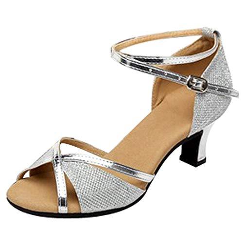 Damen Sandalen Riemchensandale Latin Tanzschuhe Pumps High Heels Sommer Outdoor Sandals(1-Silber/Silver,35)