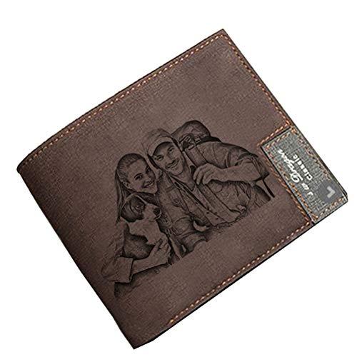 Billetera Personalizada para Hombre Billetera Personalizada De Cuero Billetera Retro Regalo del Día del Padre(Marron Oscuro De un Solo Lado)