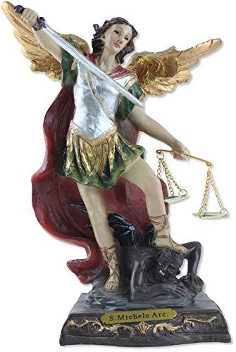 Statua San Michele Arcangelo cm 20 in Resina. Dipinta a Mano. Prodotta e Realizzata in Italia.