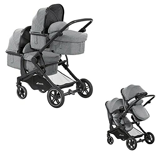 Hauck Atlantic Twin Double Pushchair Pram Stroller Buggy Melange Grey, Rubber Wheel, Suitable from Birth Upto 3 Years Old