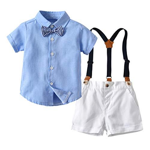 Allence Baby Jungen Bekleidung Set Festliche Kleidung Baumwolle Hemd Hose Hosenträger Taufanzug Gentleman Anzug Fliege Kinderbekleidung