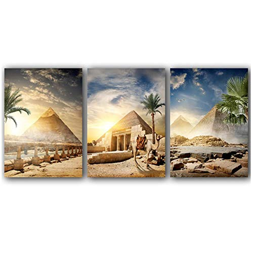 LLXHG Lienzo de Pintura pirámide Egipto Desierto Oasis Atardecer Paisaje Carteles e Impresiones Cuadros Decorativos de Pared para Sala de estar-50x70cmx3 sin Marco