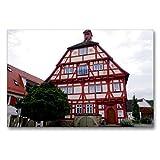 CALVENDO Premium Textil-Leinwand 90 x 60 cm Quer-Format Altes Rathaus in Hessigheim, Leinwanddruck von Angelika Keller