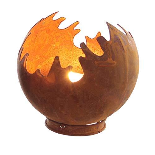 Decpero Rostiges Windlicht Feuerkugel Ø15cm H16cm