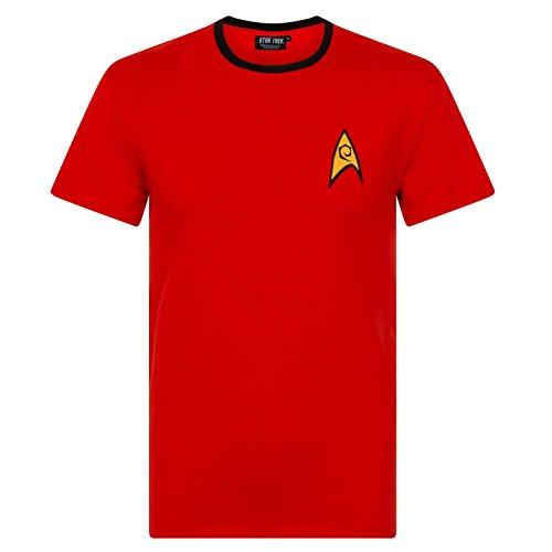 Star Trek - T-shirt originale - uomo - divisa Spock, Scotty, Capitano Kirk - Rosso - Large
