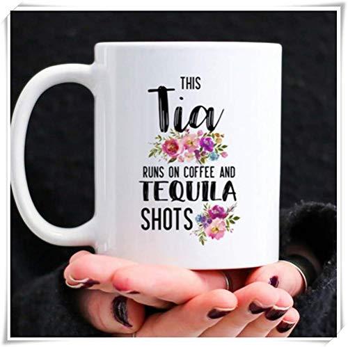 Nisdsgd Tia Gifts, Funny Gift for Tia, Tia Coffee Mug, Tia Runs On Coffee and Tequila Shots, 11oz Ceramic Coffee Mug, Unique Gift 3.14W x 3.74H(8x9.5cm)