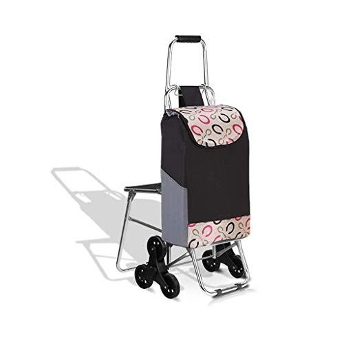 LQBDJPYS - Carrito de compras plegable, 3 ruedas, escalera, asiento de bicicleta de montaña, diseño plegable, capacidad máxima de 30 l bolsas de equipaje (color: B)