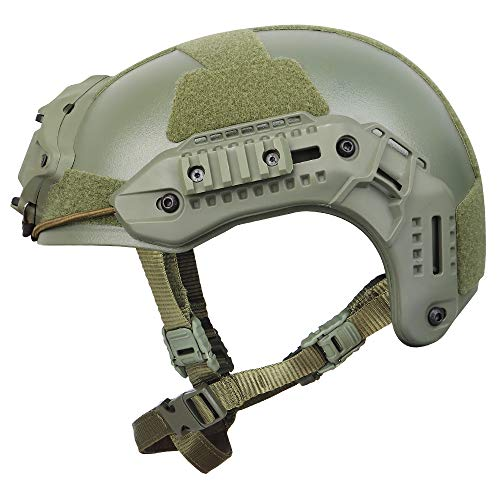 Outry Tactical Helmet, Adjustable ABS Helmet with Side Rails and NVG Mount, Outdoor Protective Helmet for Airsoft Paintball Hunting Shooting Outdoor Sports (OD Green)
