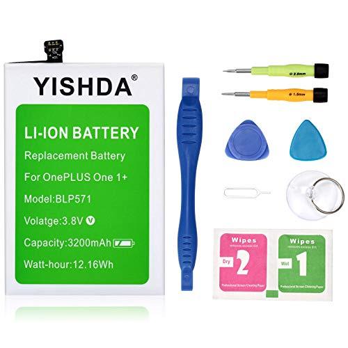 YISHDA - Batería de repuesto para OnePlus One Plus One Plus One 1+ (3200 mAh, BLP571, incluye herramientas de instalación)