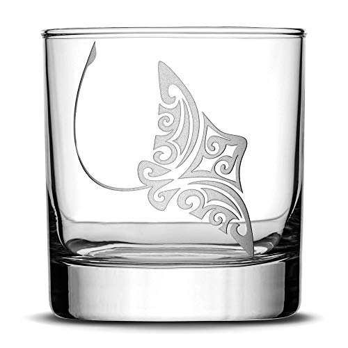 Integrity Bottles Premium Eagle Ray Whiskey Glass, Hand Etched Tribal Stingray Design, 11oz Rocks Glass Made in USA, Highball Gifts, Sand Carved