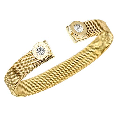 Sunwd Bracciale da donna, Braccialetto Bracciali Women Bracelets Roman Number Open Cuff Bangles Stainless Steel Silver Gold Color Crystal Bracelets 10mm gold color