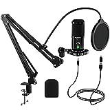 Micrófono PC, FURINE Micrófono USB Condensador para Gaming Streaming, Micrófono Cardioide profesional para cantar, Estúdio, PS4, con Brazo, Soporte, Filtro Pop, Adaptador tipo C